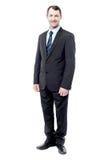 Homem de negócios considerável isolado no branco fotos de stock