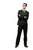 Homem de negócios considerável no terno preto no branco. imagem de stock royalty free