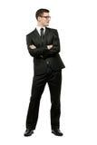 Homem de negócios considerável no terno preto no branco. fotografia de stock royalty free