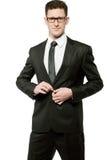 Homem de negócios considerável no terno preto no branco. fotos de stock royalty free