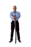 Homem de negócios considerável novo do americano africano, espada fotografia de stock