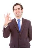 Homem de negócios considerável que faz o sinal APROVADO Fotografia de Stock
