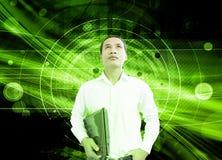 Homem de negócios In Cyberspace fotografia de stock royalty free