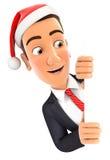 homem de negócios 3d com chapéu do Natal que olha sobre a parede Foto de Stock