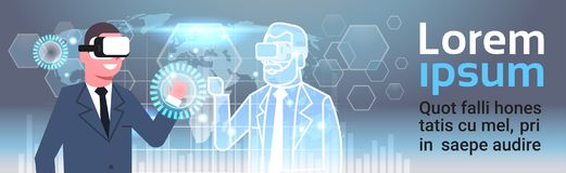 Homem de negócios In 3d Hearset usando a relação de Digitas com conceito da inovação da realidade virtual do fundo do mapa do mun ilustração do vetor