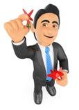 homem de negócios 3D que aponta um dardo alcançar o alvo Fotografia de Stock