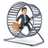 homem de negócios 3D que corre em uma roda do hamster Imagem de Stock