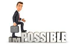 homem de negócios 3d que gira impossível em possível ilustração royalty free