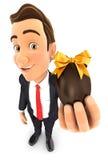 homem de negócios 3d que guarda o ovo da páscoa ilustração do vetor