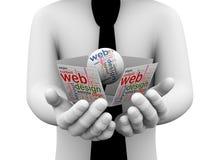 homem de negócios 3d que guarda o wordcloud do design web Fotografia de Stock