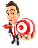 homem de negócios 3d que guarda um alvo da esfera Foto de Stock Royalty Free
