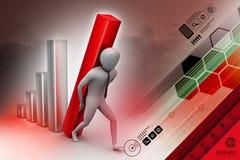 homem de negócios 3d que leva a coluna grande do diagrama Imagem de Stock Royalty Free