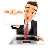 homem de negócios 3d que sai do portátil com um cartão Foto de Stock Royalty Free