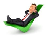 homem de negócios 3d relaxado em uma marca de verificação Fotos de Stock Royalty Free