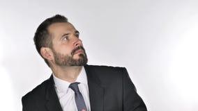 Homem de negócios da barba confuso e assustado dos problemas filme