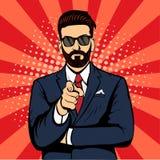 Homem de negócios da barba do moderno que aponta a ilustração retro do vetor do pop art do dedo Fotos de Stock Royalty Free