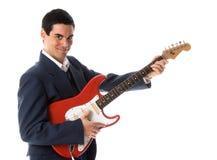 Homem de negócios da guitarra fotos de stock