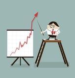 Homem de negócios da ilustração do vetor e gráfico positivo Fotos de Stock Royalty Free