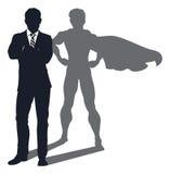 Homem de negócios da sombra do super-herói ilustração royalty free