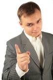 Homem de negócios de advertência pelo dedo foto de stock