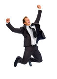 Homem de negócios de salto imagens de stock