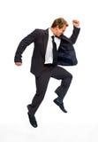 Homem de negócios de salto foto de stock