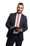 Homem de negócios de sorriso com dobrador Fotografia de Stock