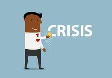 Homem de negócios de sorriso dos desenhos animados que apaga a crise Imagem de Stock Royalty Free