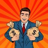Homem de negócios de sorriso Holding Money Bags Pop art ilustração stock