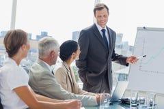 Homem de negócios de sorriso que aponta no whiteboard durante uma reunião Imagem de Stock