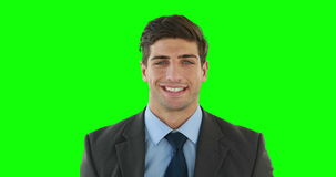 Homem de negócios de sorriso que levanta para a câmera video estoque