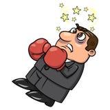 Homem de negócios derrotado nas luvas de encaixotamento 2 Fotografia de Stock Royalty Free