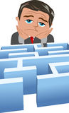Homem de negócios desanimado na frente de um problema Fotos de Stock Royalty Free