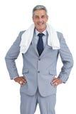 Homem de negócios desportivo com toalha Imagens de Stock Royalty Free