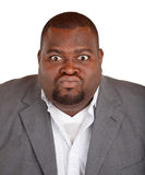 Homem de negócios do americano africano irritado sobre algo Imagens de Stock Royalty Free
