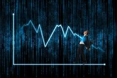 Homem de negócios do ataque do parafuso de relâmpago, mercado de valores de ação e mercado financeiro Fotografia de Stock Royalty Free