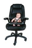 Homem de negócios do bebê com teclado Imagem de Stock Royalty Free