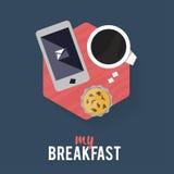 Homem de negócios do café da manhã do ícone Foto de Stock Royalty Free