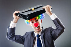 Homem de negócios do palhaço - conceito do negócio engraçado Fotografia de Stock