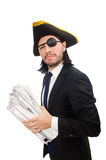 Homem de negócios do pirata que mantém o martelo isolado no branco Fotos de Stock Royalty Free
