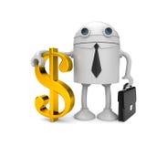 Homem de negócios do robô com dólar do ouro ilustração stock