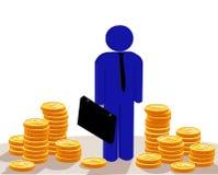 Homem de negócios do sucesso com dólares da pilha-acima Fotografia de Stock