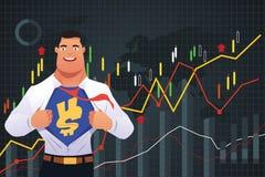 Homem de negócios do super-herói no conceito da finança Imagens de Stock