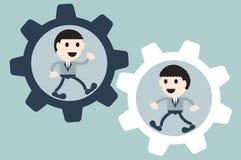 Homem de negócios dois na roda denteada ilustração stock