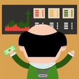 Homem de negócios dos desenhos animados com dinheiro à disposição O corretor monitora Imagens de Stock Royalty Free