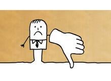 Homem de negócios dos desenhos animados com polegar para baixo ilustração stock