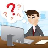 Homem de negócios dos desenhos animados com ponto de interrogação Fotos de Stock