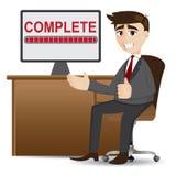 Homem de negócios dos desenhos animados com processo completo Imagens de Stock