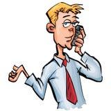 Homem de negócios dos desenhos animados em seu telefone móvel Imagens de Stock