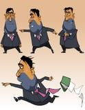 Homem de negócios dos desenhos animados em um terno em poses diferentes Fotografia de Stock Royalty Free